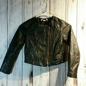 Kids faux leather jacket size 7-8